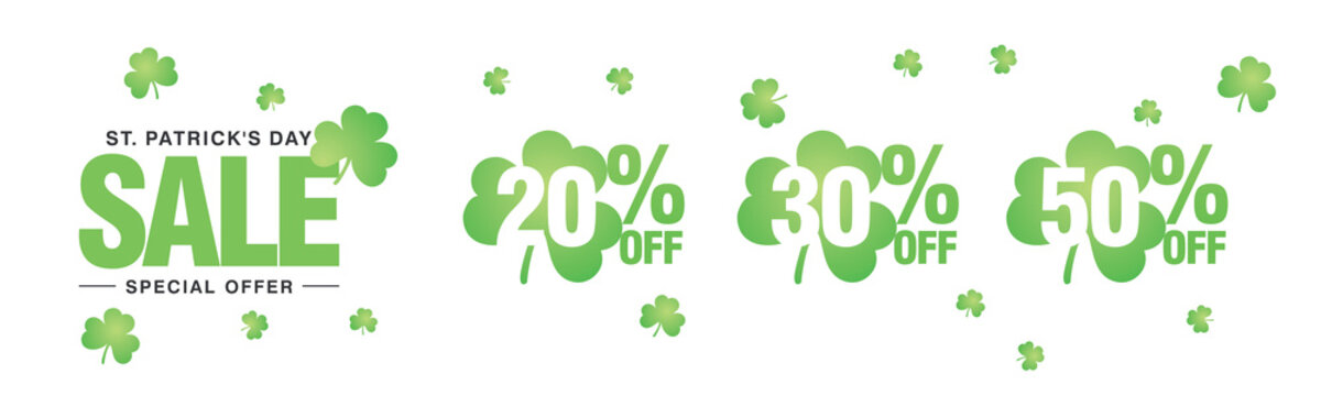 Saint Patrick's Day Sale special offer 20 30 50 percent off green clover negative space discount numbers stickers white background