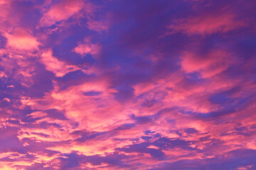 Beautiful sky and cumulus clouds at sunset. Background. Scenery. Texture.
