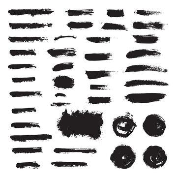 Vector set grunge brush stroke. Black paint brush. Text boxes.