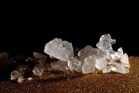 Macro shot of crystal rock sugar