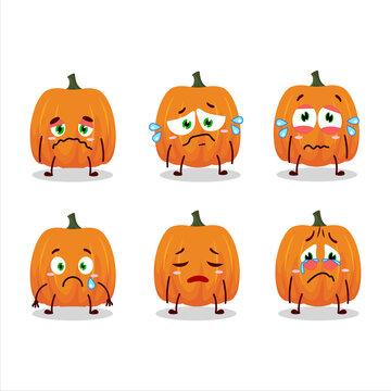 New pumpkin cartoon character with sad expression