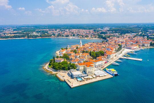 Aerial view of Croatian town Porec