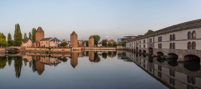 Sunset view of Ponts Couverts and Barrage Vauban at Strasbourg in France