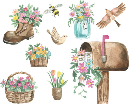 illustration of watercolor spring flowers in a wooden pot, flowers in a shoe, flower bouquet in a glass jar, mailbox with flowers