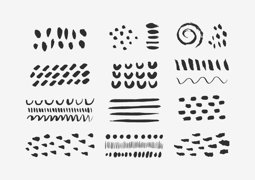 Abstract Graphic Elements in Minimal Trendy Style. Vector Set of Hand Drawn Texture for creating Patterns, Invitations, Posters, Cards, Social Media Posts