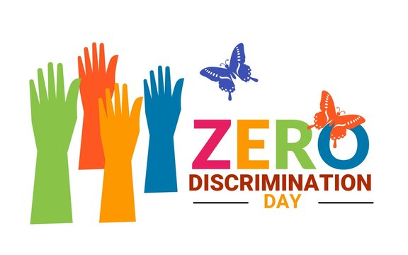 Vector illustration of hand and colorful butterfly as zero discrimination day concept.