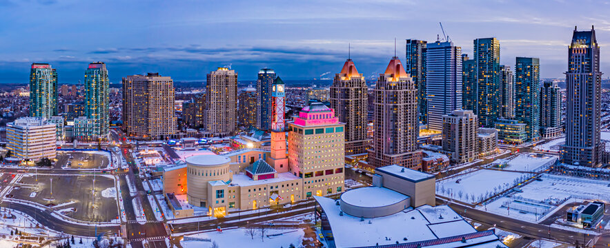 Evening aerial view of downtown Mississauga with detailed view of clock tower.
