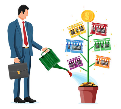 Successful franchise business with money tree. Franchising shop building or commercial property and people. Real estate business promotional, sme. Selling buying new business. Flat vector illustration