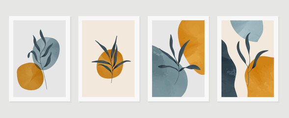 Botanical wall art vector set. Earth tone background foliage line art drawing with abstract shape and watercolor. Design for wall framed prints, canvas prints, poster, home decor, cover, wallpaper Fototapete