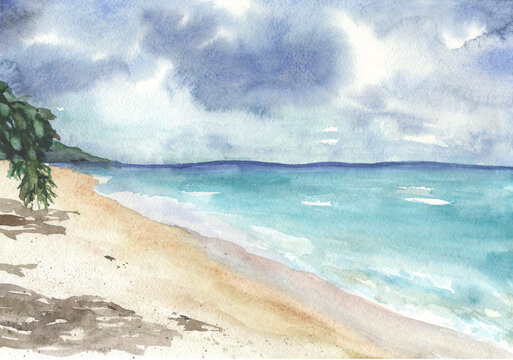 Sandy beach with mountains on the horizon and a tree branch in watercolor
