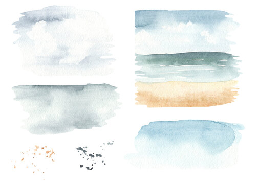 Watercolor set of sea cruise with seascape, watercolor stains, sky, watercolor splashes