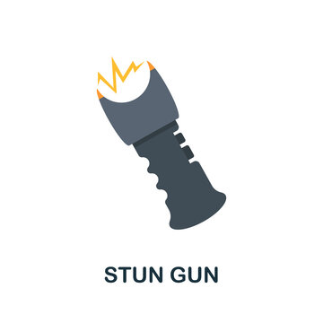 Stun Gun flat icon. Color simple element from weapon collection. Creative Stun Gun icon for web design, templates, infographics and more