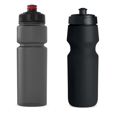 Sport water bottle. Plastic drink bottle vector blank. Reusable fitness bottle template mock up. Bicycle training bottles, adventure equipment. Hiking thermo bottle, clear object