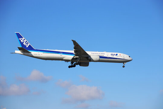 "A passenger plane of the Japanese Airline ""ANA"" lands at Frankfurt Airport, Germany (February 11, 2021)"