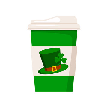 St Patrick day coffee or tea cup to go. Hot drink mug with good luck irish green leprechaun hat with shamrock clover isolated on white background. Vector flat design cartoon style coffee to go cup.