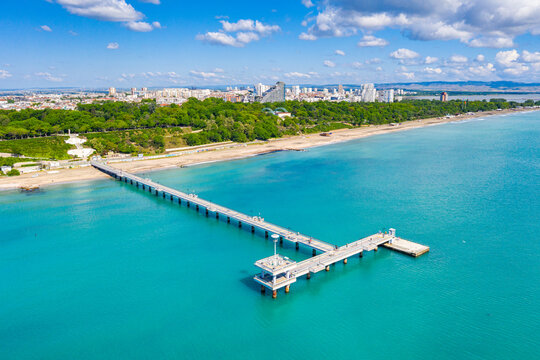 Aerial view of the pier of Burgas in Bulgaria