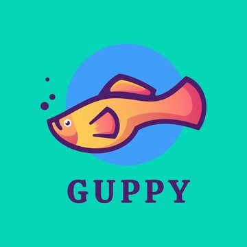 Vector Logo Illustration Guppy Gradient Colorful Style.