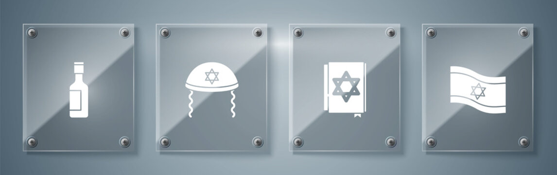 Set Flag of Israel, Jewish torah book, kippah and wine bottle. Square glass panels. Vector.