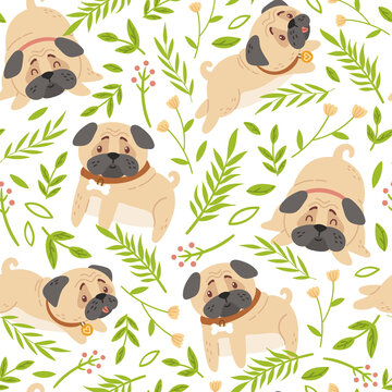 Baby pugs kids seamless pattern, Dog or puppy and spring flowers digital paper, seamless background with cute cartoon baby animals or pets for nursery textile, scrapbook, wrapping