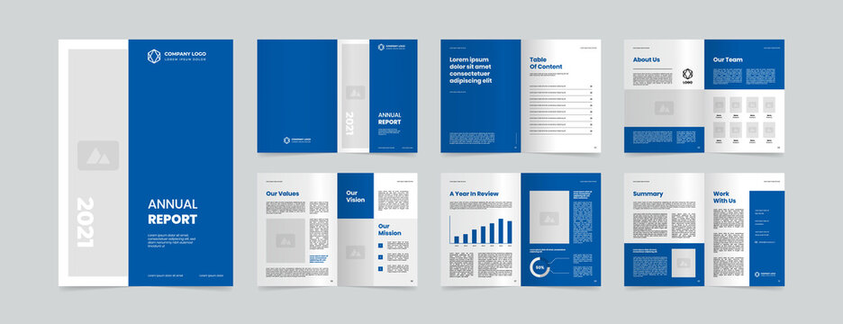 modern annual report layout design template
