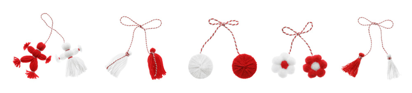 Set with traditional martenitsi in different shapes on white background, banner design. Symbol of first spring day (Martisor celebration)