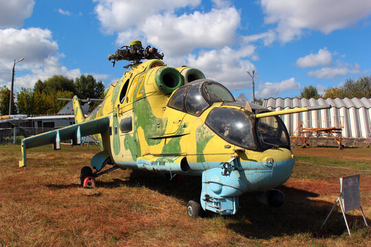 KYIV, UKRAINE - SEPTEMBER 19, 2016: Soviet-Russian military helicopter Mi-24P (Hind by NATO) at 3rd Annual Ukraine Aviation Festival at State Aviation museum in Zhulyany, Kyiv.