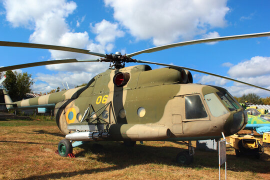 KYIV, UKRAINE - SEPTEMBER 19, 2016: Soviet-Russian multipurpose helicopter Mi-8MT (Hip-H by NATO) at 3rd Annual Ukraine Aviation Festival at State Aviation museum in Zhulyany, Kyiv.