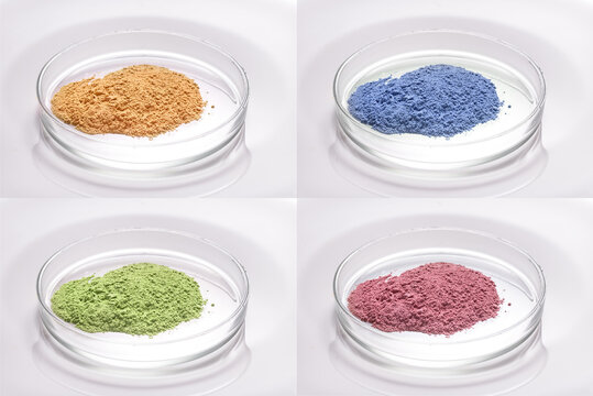 Set of different dry clay povder