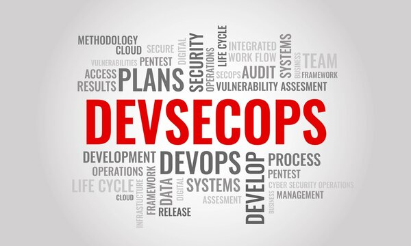 DEVSECOPS word cloud. Cybersecurity management and operation concept. Vector illustration