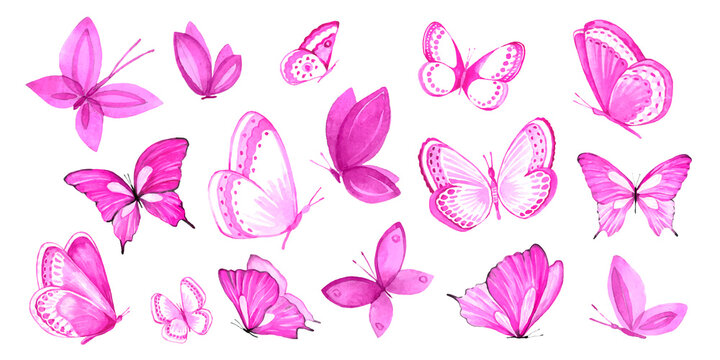 Large watercolor set of pink butterflies for invitations, design