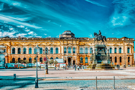 DRESDEN, GERMANY-SEPTEMBER 08, 2015: Panoramic on Zwinger Palace - royal palace since 17th century in Dresden. Today, Zwinger  complex are  most visited place in Dresden. Germany.