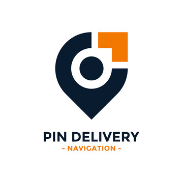Pin delivery logo design template. Gps map point icon with arrow combination. Concept of logistics, cargo, order, send, move, route, etc.