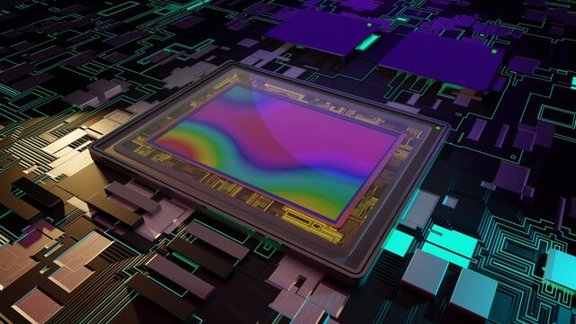 Sensor for digital camera, 3D rendering macro on motherboard with to processors