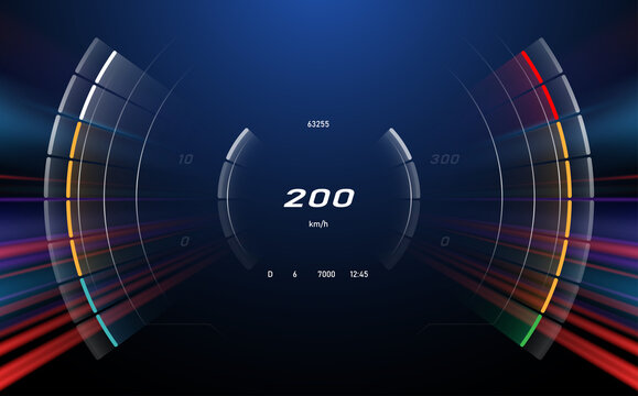 Digital speedometer with motion effect background