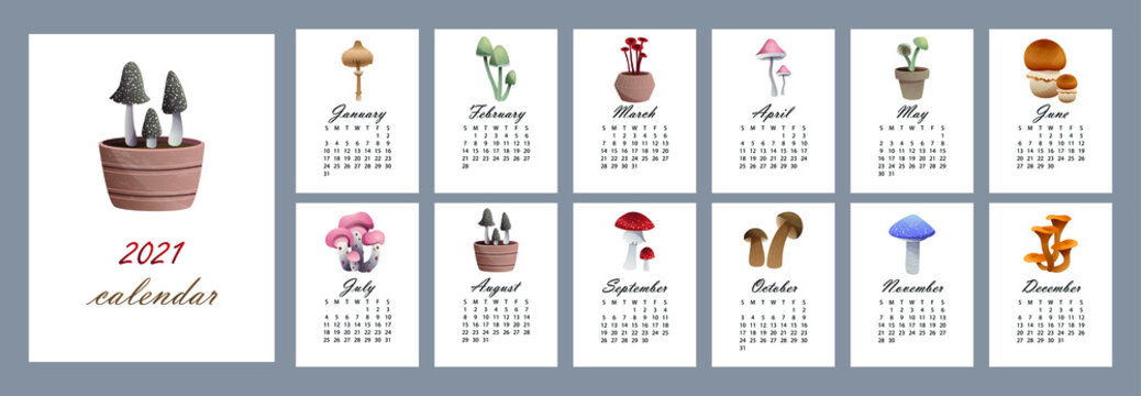 Calendar 2021 with mushrooms from 12 months. Callendar for every month with different types of mushrooms: odobrezoviki, chanterelle mushrooms, boletus boletus, muhamora. Vector illustration