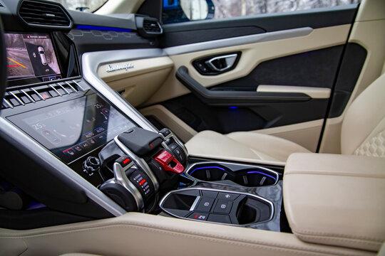 MOSCOW, RUSSIA - DECEMBER, 15, 2020: Interior of premium car Lamborghini Urus light leather