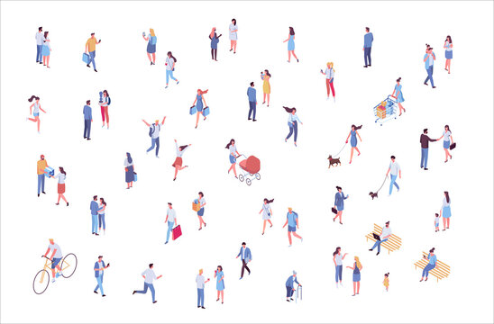 Isometric vector background people. City street, park. Different people walking outdoor, riding bicycle, sitting on bench, walking with friends, pets. Family together. Flat vector isolated.