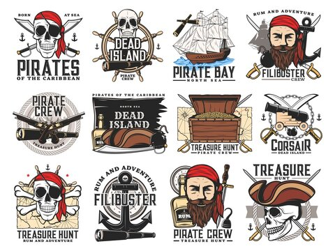 Pirates island, treasure hunt adventure and filibuster crew emblems. Pirate bearded face and skull, chest with gold, buccaneer sabers, pistols and cannon, caravel steering wheel, treasure map vector
