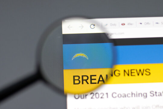 New York, USA - 15 February 2021: Los Angeles Chargers website in browser with company logo, Illustrative Editorial.