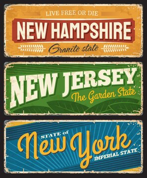 Vintage banners New Hampshire, New Jersey and New York american states, vector sign for travel destination, retro grunge boards, antique worn signboards with typography, touristic landmark plaques set