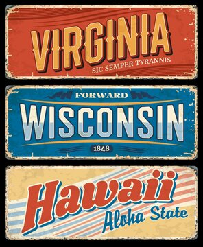 USA state grunge vector signs of Hawaii, Virginia and Wisconsin, American travel or tourism design. Vintage plates and retro postcards with Aloha, Sic Semper Tyrannis and Forward state letterings