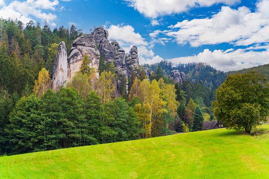 Adersbacher rock city in Krenov in the Czech Republic