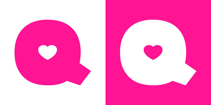 Logotipo con letra inicial Q con corazón en fondo rosa y fondo blanco