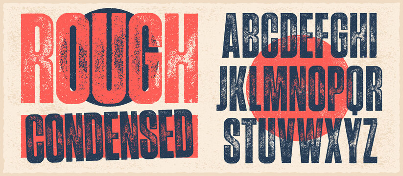 Rough Condensed Font. Works well at small sizes. Individually textured characters with an eroded rough letterpress print texture. Unique design font