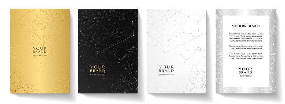 Modern cover design set with technology curve lines. Contemporary network pattern backdrop in gold, black, white and silver colors. Vector background template for business brochure, certificate