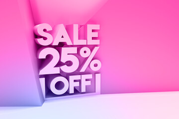 Fototapeta 3D Render 25% OFF Sale Discount Banner with space of your text Illustration Design. obraz