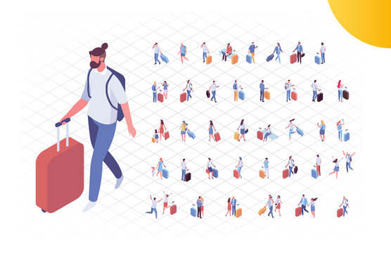 Isometric people in airport vector set. Trip and vacation. Crowd of people with luggage isolated on white background