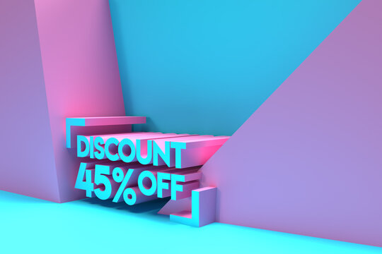 3D Render 45% OFF Sale Discount Banner with space of your text Illustration Design.