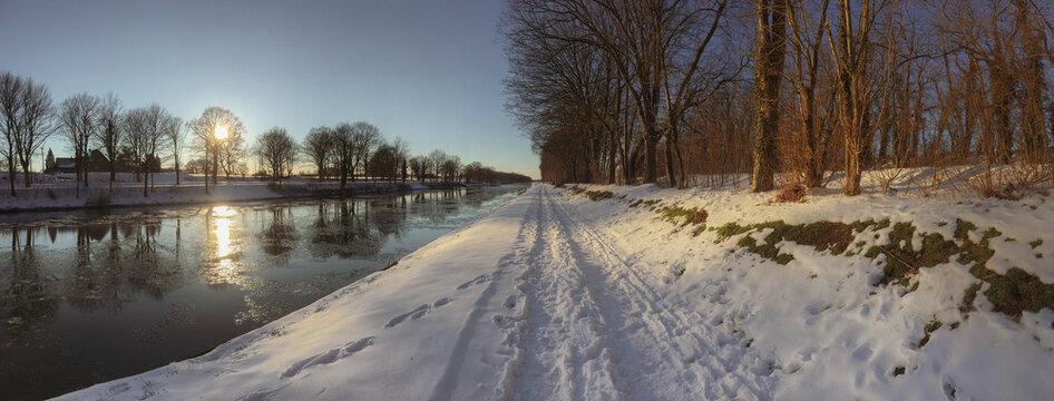 Winteridyll am Wesel-Datteln-Kanal bei Schermbeck zwischen Niederrhein und Münsterland
