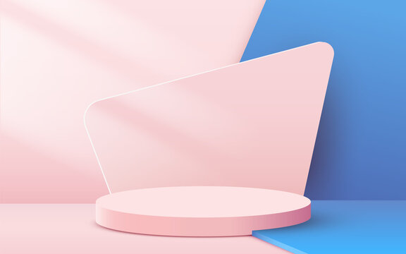 Abstract scene background. Cylinder podium on pink background. Product presentation, mock up, show cosmetic product, Podium, stage pedestal or platform.